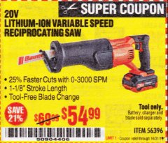 Harbor Freight Coupon 20V LITHIUM-ION VARIABLE SPEED RECIPROCATING SAW WITH KEYLESS CHUCK Lot No. 56396 Expired: 10/31/19 - $54.99