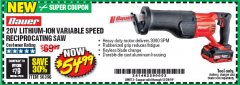 Harbor Freight Coupon 20V LITHIUM-ION VARIABLE SPEED RECIPROCATING SAW WITH KEYLESS CHUCK Lot No. 56396 Valid Thru: 12/28/19 - $54.99