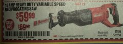 Harbor Freight Coupon BAUER 10 AMP VARIABLE SPEED RECIPROCATING SAW Lot No. 56250 Expired: 11/30/19 - $59.99