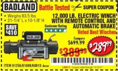 Harbor Freight Coupon 12,000 LB. ELECTRIC WINCH WITH REMOTE CONTROL AND AUTOMATIC BRAKE Lot No. 68142/61256/60813/61889 Expired: 11/12/17 - $289.99