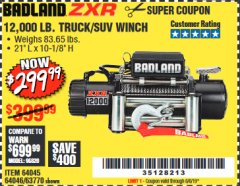 Harbor Freight Coupon 12,000 LB. ELECTRIC WINCH WITH REMOTE CONTROL AND AUTOMATIC BRAKE Lot No. 68142/61256/60813/61889 Valid Thru: 6/6/19 - $299.99