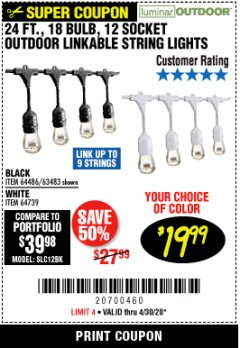 Harbor Freight Coupon 24 FT., 18 BULB, 12 SOCKET OUTDOOR LINKABLE STRING LIGHTS Lot No. 64486/63483 Valid Thru: 6/30/20 - $19.99