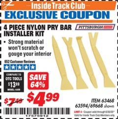Harbor Freight ITC Coupon 4 PIECE NYLON PRY BAR INSTALLER SET Lot No. 63468/95214/63594/69688 Dates Valid: 12/31/69 - 6/30/20 - $4.99