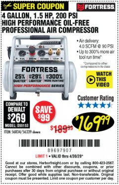 Harbor Freight Coupon FORTRESS 4 GALLON, 1.5HP OIL FREE PROFFESSIONAL AIR COMPRESSOR Lot No. 56834 56339 EXPIRES: 6/30/20 - $169.99