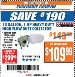 Harbor Freight ITC Coupon 13 GALLON INDUSTRIAL PORTABLE DUST COLLECTOR Lot No. 61808/31810 Expired: 9/4/18 - $109.99