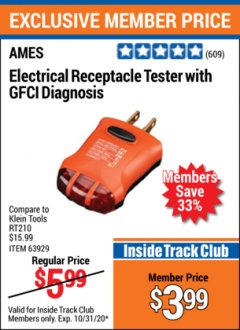 Harbor Freight ITC Coupon NON-CONTACT VOLTAGE TESTER OR ELECTRICAL RECEPTACLE TESTER WITH GFCI DIAGNOSIS Lot No. 63919, 63929 Expired: 10/31/20 - $3.99