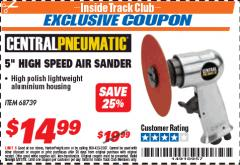 "Harbor Freight ITC Coupon 5"" HIGH SPEED AIR SANDER Lot No. 68739 Expired: 5/31/18 - $14.99"