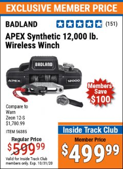 Harbor Freight ITC Coupon BADLAND APEX 12,000 LB. TRUCK/SUV WINCH Lot No. 56385 Expired: 10/31/20 - $499.99
