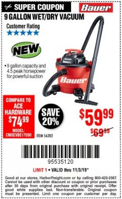Harbor Freight Coupon BAUER 9 GALLON WET/DRY VACUUM Lot No. 56202 Expired: 11/3/19 - $59.99