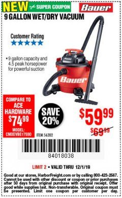 Harbor Freight Coupon BAUER 9 GALLON WET/DRY VACUUM Lot No. 56202 Expired: 12/1/19 - $59.99