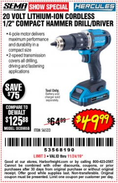 Harbor Freight Coupon HERCULES 20V CORDLESS 1/2IN HAMMER DRILL Lot No. 56533 Expired: 11/24/19 - $49.99