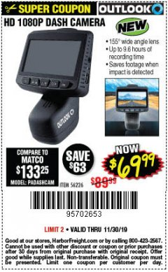 Harbor Freight Coupon OUTLOOK HD 1080P DASH CAMERA  Lot No. 56226 Expired: 11/3/19 - $69.99
