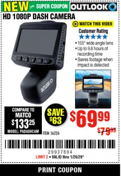 Harbor Freight Coupon OUTLOOK HD 1080P DASH CAMERA  Lot No. 56226 Expired: 1/26/20 - $69.99