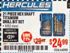 Harbor Freight Coupon 21 PIECE HEX SHAFT TITANIUM DRILL BIT SET Lot No. 64898 Expired: 11/30/19 - $24.99