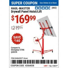 Harbor Freight Coupon DRYWALL PANEL HOIST/LIFT Lot No. 62484/69377 Valid Thru: 1/29/21 - $169.99