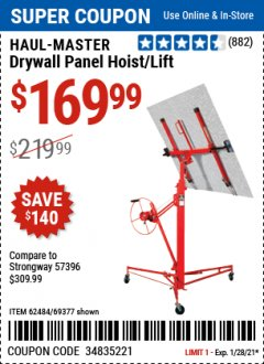 Harbor Freight Coupon DRYWALL PANEL HOIST/LIFT Lot No. 62484/69377 Valid Thru: 1/28/21 - $169.99