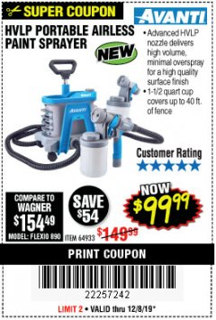 Harbor Freight Coupon AVANTI HVLP PORTABLE PAINT SPRAYER Lot No. 64933 Expired: 12/8/19 - $99.99
