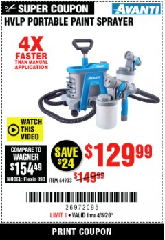 Harbor Freight Coupon AVANTI HVLP PORTABLE PAINT SPRAYER Lot No. 64933 Valid Thru: 6/30/20 - $129.99