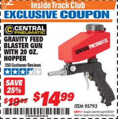 Harbor Freight ITC Coupon GRAVITY FEED BLASTER GUN WITH 20 OZ HOPPER Lot No. 95793 Dates Valid: 12/31/69 - 6/30/20 - $14.99