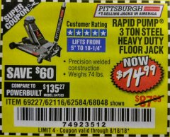 Harbor Freight Coupon RAPID PUMP 3 TON HEAVY DUTY STEEL FLOOR JACK Lot No. 68048/69227/62116/62590/62584 Expired: 8/18/18 - $74.99
