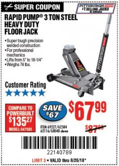 Harbor Freight Coupon RAPID PUMP 3 TON HEAVY DUTY STEEL FLOOR JACK Lot No. 68048/69227/62116/62590/62584 Expired: 8/26/18 - $67.99