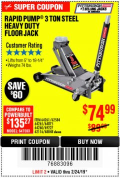 Harbor Freight Coupon RAPID PUMP 3 TON HEAVY DUTY STEEL FLOOR JACK Lot No. 68048/69227/62116/62590/62584 Expired: 2/24/19 - $74.99