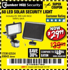 Harbor Freight Coupon 60 LED SOLAR SECURITY LIGHT Lot No. 60524/62534/56213/69643/93661 Expired: 10/7/18 - $29.99