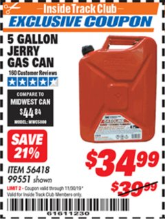 Harbor Freight ITC Coupon 5 GALLON JERRY GAS CAN Lot No. 56418/99551 Expired: 11/30/19 - $34.99