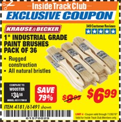 "Harbor Freight ITC Coupon 1"" INDUSTRIAL GRADE PAINT BRUSHES PACK OF 36 Lot No. 4181/61491 Expired: 11/30/19 - $6.99"