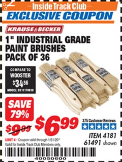"Harbor Freight ITC Coupon 1"" INDUSTRIAL GRADE PAINT BRUSHES PACK OF 36 Lot No. 4181/61491 Expired: 1/31/20 - $6.99"