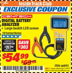 Harbor Freight ITC Coupon DIGITAL BATTERY ANALYZER Lot No. 66892 Expired: 11/30/19 - $54.99