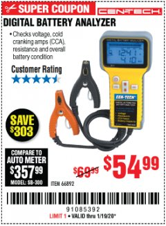 Harbor Freight Coupon DIGITAL BATTERY ANALYZER Lot No. 66892 Expired: 1/19/20 - $54.99
