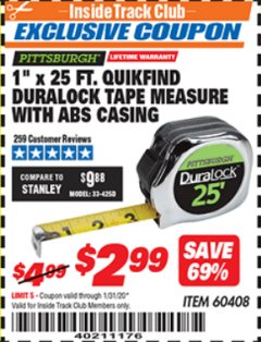"Harbor Freight ITC Coupon 1"" X 25 FT. QUIKFIND DURALOCK TAPE MEASURE Lot No. 60408 Expired: 1/31/20 - $2.99"