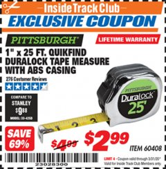 "Harbor Freight ITC Coupon 1"" X 25 FT. QUIKFIND DURALOCK TAPE MEASURE Lot No. 60408 Expired: 3/31/20 - $2.99"