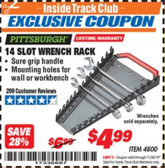 Harbor Freight ITC Coupon 14 SLOT WRENCH RACK Lot No. 4800 Expired: 11/30/19 - $4.99