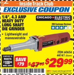 "Harbor Freight ITC Coupon 1/4"", 4.3 AMP HEAVY DUTY LONG SHAFT DIE GRINDER Lot No. 60656/44141 Expired: 3/31/20 - $29.99"