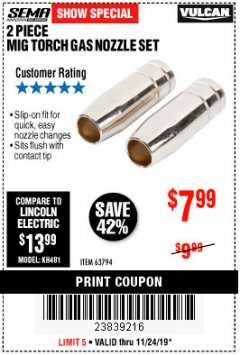 Harbor Freight Coupon 2 PIECE MIG TORCH GAS NOZZLE SET Lot No. 63794 Expired: 11/24/19 - $7.99