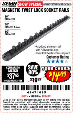 Harbor Freight Coupon MAGNETIC TWIST LOCK SOCKET RAILS Lot No. 64999, 70014, 64998 Expired: 11/24/19 - $14.99