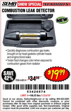 Harbor Freight Coupon MADDOX COMBUSTION LEAK DETECTOR Lot No. 64814 Expired: 11/24/19 - $19.99