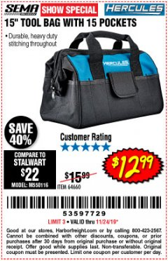 "Harbor Freight Coupon HERCULES 15"" TOOL BAG WITH 15 POCKETS Lot No. 64660 Expired: 11/24/19 - $12.99"