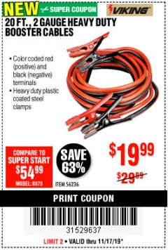 Harbor Freight Coupon 20 FT., 2 GAUGE HEAVY DUTY BOOSTER CABLES Lot No. 56236 Expired: 11/17/19 - $19.99