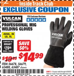 Harbor Freight ITC Coupon VULCAN PROFESSIONAL MIG WELDING GLOVES Lot No. 56678/63487/56679/63488 Expired: 4/30/20 - $14.99