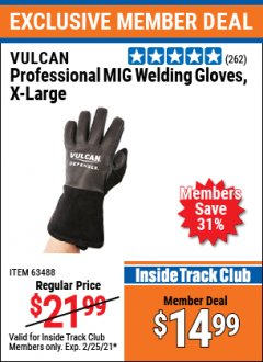 Harbor Freight ITC Coupon VULCAN PROFESSIONAL MIG WELDING GLOVES Lot No. 56678/63487/56679/63488 Expired: 2/25/21 - $14.99