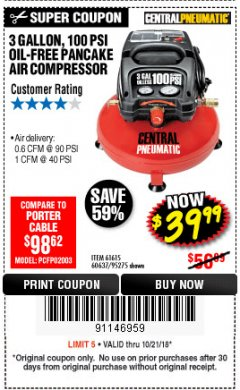 Harbor Freight Coupon 3 GALLON, 100 PSI OILLESS PANCAKE AIR COMPRESSOR Lot No. 95275/60637/69486/61615 Expired: 10/21/18 - $39.99