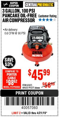 Harbor Freight Coupon 3 GALLON, 100 PSI OILLESS PANCAKE AIR COMPRESSOR Lot No. 95275/60637/69486/61615 Expired: 4/21/19 - $45.99
