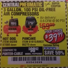 Harbor Freight Coupon 3 GALLON, 100 PSI OILLESS PANCAKE AIR COMPRESSOR Lot No. 95275/60637/69486/61615 Expired: 2/20/20 - $39.99