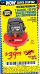 Harbor Freight Coupon 3 GALLON, 100 PSI OILLESS PANCAKE AIR COMPRESSOR Lot No. 95275/60637/69486/61615 Expired: 7/22/15 - $39.99