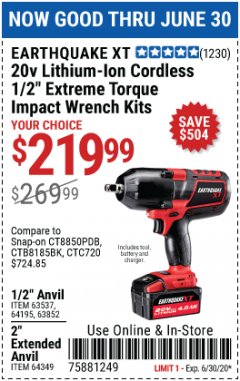 "Harbor Freight Coupon 20 VOLT LITHIUM-ION CORDLESS EXTREME TORQUE 1/2"" IMPACT WRENCH KIT Lot No. 63537/64195/63852/64349 EXPIRES: 6/30/20 - $219.99"