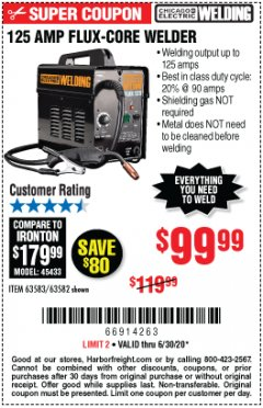 Harbor Freight Coupon CHICAGO ELECTRIC FLUX 125 WELDER Lot No. 63583, 63582 EXPIRES: 6/30/20 - $99.99