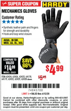 Harbor Freight Coupon MECHANICS GLOVES Lot No. 62434 EXPIRES: 6/30/20 - $4.99